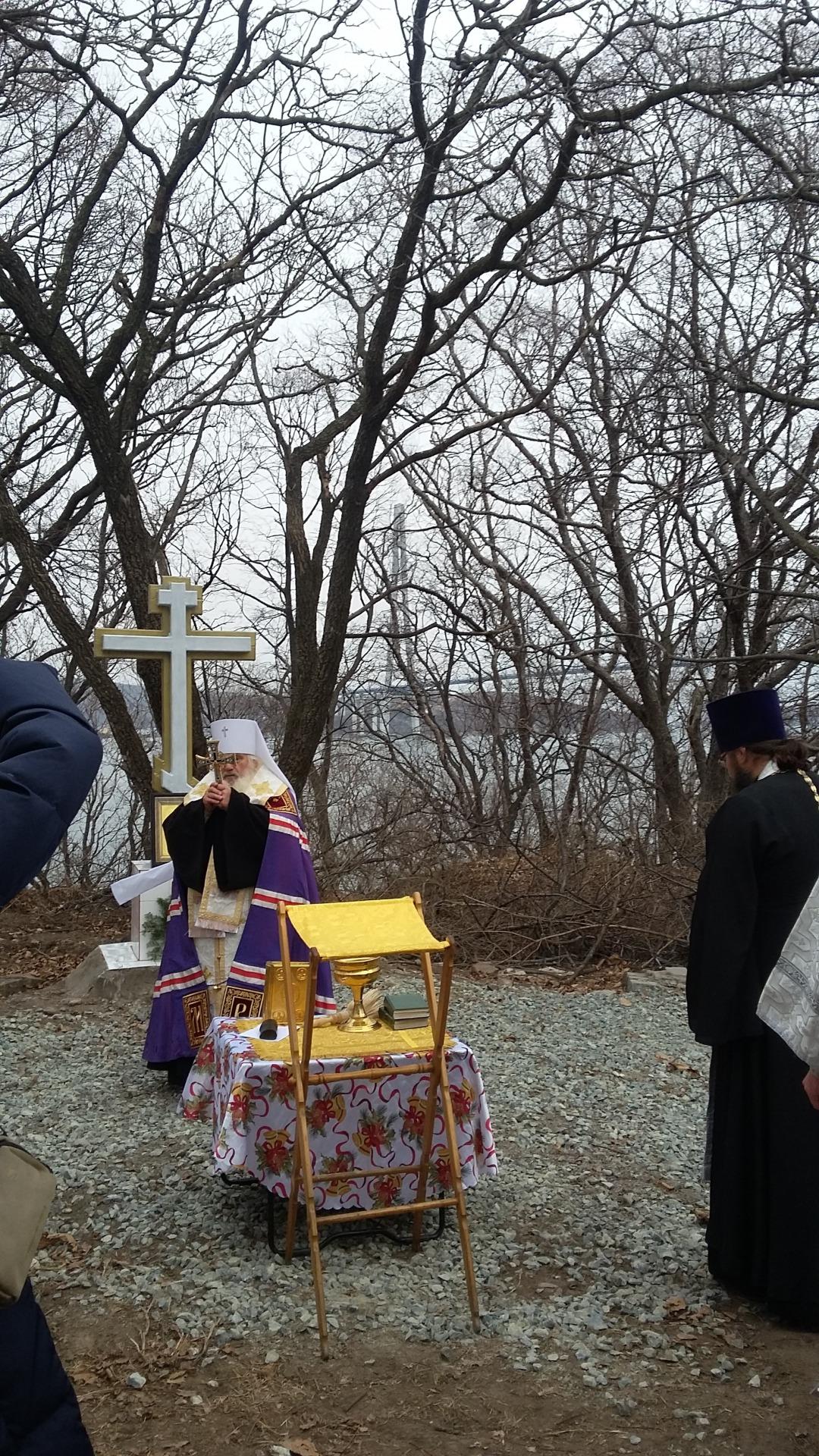 освящение креста на фундаменте храма Нерукотворного Образа Христа Спасителя близ п. Поспелово 24.11. 2017